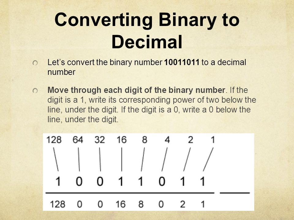 Converting Binary to Decimal Lets convert the binary number 10011011 to a decimal number Move through each digit of the binary number. If the digit is