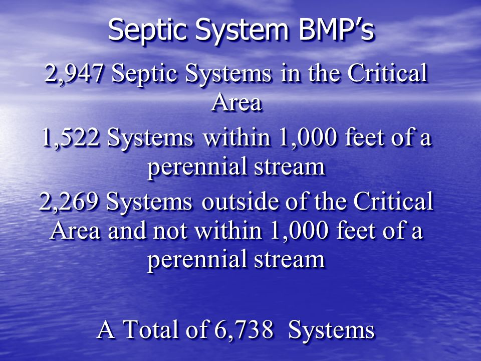 2,947 Septic Systems in the Critical Area 1,522 Systems within 1,000 feet of a perennial stream 2,269 Systems outside of the Critical Area and not within 1,000 feet of a perennial stream A Total of 6,738 Systems 2,947 Septic Systems in the Critical Area 1,522 Systems within 1,000 feet of a perennial stream 2,269 Systems outside of the Critical Area and not within 1,000 feet of a perennial stream A Total of 6,738 Systems Septic System BMPs