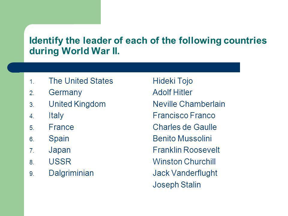 Answers 1.The United States 2. Germany 3. United Kingdom 4.