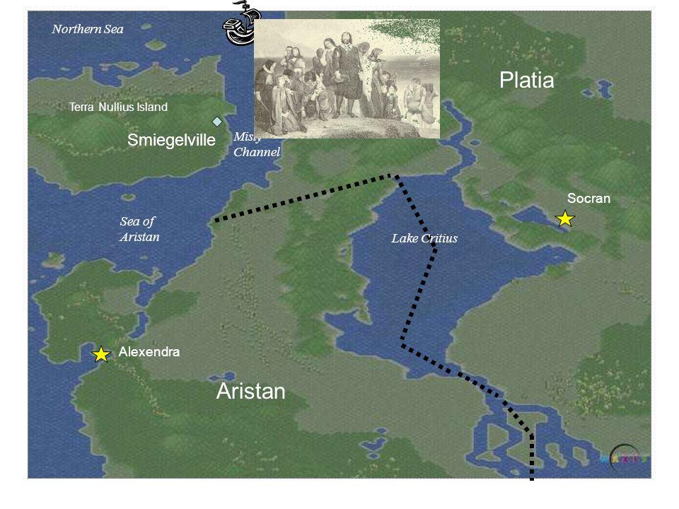 Platia Aristan Alexendra Socran Lake Critius Terra Nullius Island Misty Channel Sea of Aristan Northern Sea Smiegelville