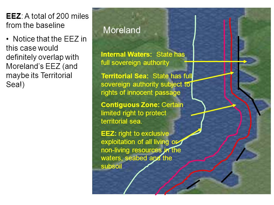 Platia Moreland EEZ: A total of 200 miles from the baseline Notice that the EEZ in this case would definitely overlap with Morelands EEZ (and maybe it