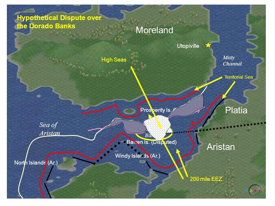 Moreland Utopiville Sea of Aristan Misty Channel Aristan Platia Dorado Banks Windy Islands (Ar.) Barren Is. (Disputed) Prosperity Is. (Moreland) North