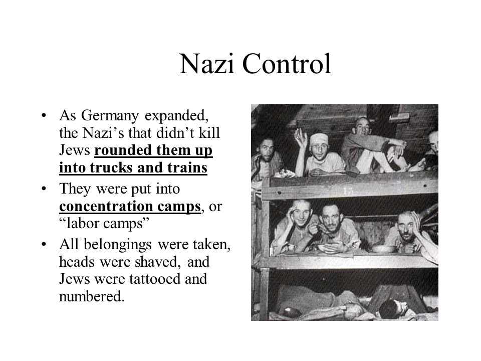 Nazi Control As Germany expanded, the Nazis that didnt kill Jews rounded them up into trucks and trains They were put into concentration camps, or lab