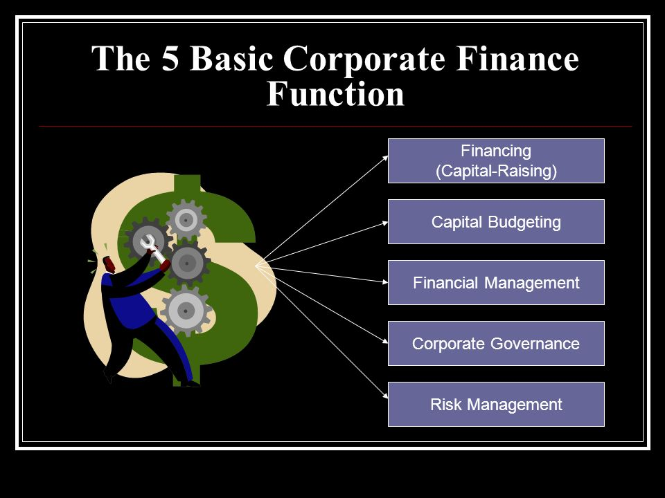 The 5 Basic Corporate Finance Function Financing (Capital-Raising) Capital Budgeting Financial Management Corporate Governance Risk Management