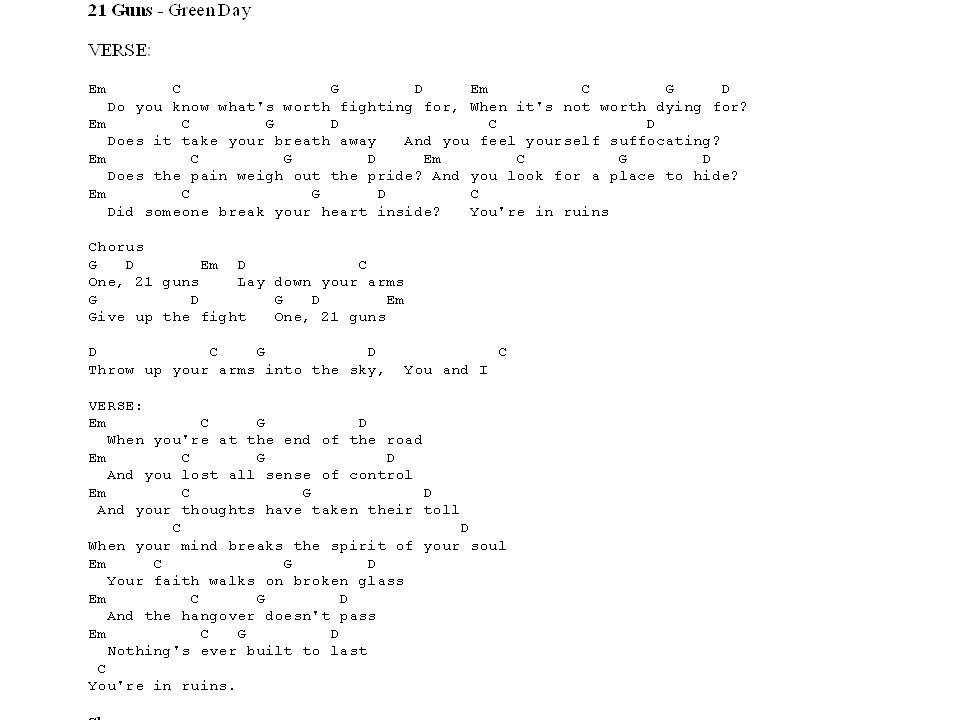 Beautiful 21 Guns Guitar Chords Ornament - Beginner Guitar Piano ...