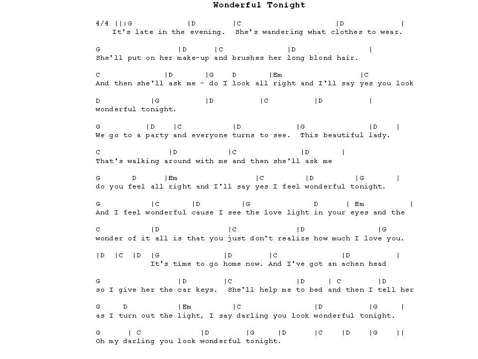 Modern Wonderful Tonight Guitar Chords Motif - Beginner Guitar Piano ...