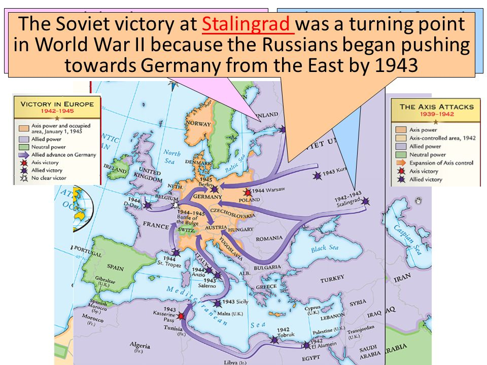 Meanwhile, the Soviet army stopped the German attack at Moscow & Leningrad in 1942 The Soviets defeated the German army at the Battle of Stalingrad Th