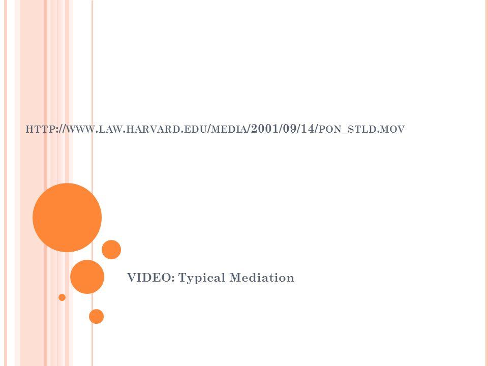HTTP :// WWW. LAW. HARVARD. EDU / MEDIA /2001/09/14/ PON _ STLD. MOV VIDEO: Typical Mediation