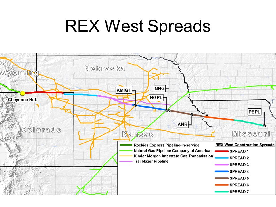 REX In - Service Dates Commenced Interim Service Deliveries into NNG, NGPL and ANR on January 12, 2008 Expect to Commence Full Service on REX West to include PEPL (Audrain County, Mo.) in early February, 2008 Expect to Commence Deliveries at Clarington, Ohio near the end of 2008