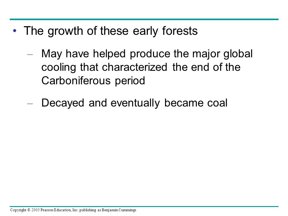 Copyright © 2005 Pearson Education, Inc. publishing as Benjamin Cummings The growth of these early forests – May have helped produce the major global