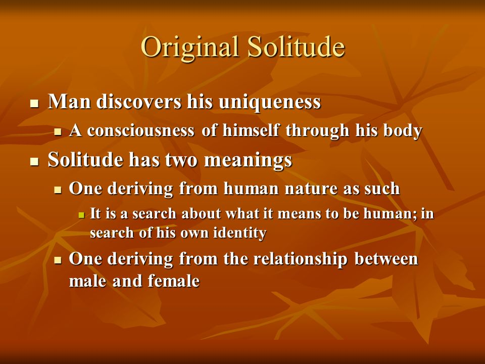 Original Solitude Man discovers his uniqueness Man discovers his uniqueness A consciousness of himself through his body A consciousness of himself through his body Solitude has two meanings Solitude has two meanings One deriving from human nature as such One deriving from human nature as such It is a search about what it means to be human; in search of his own identity It is a search about what it means to be human; in search of his own identity One deriving from the relationship between male and female One deriving from the relationship between male and female