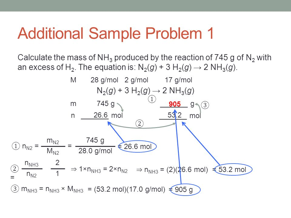 Additional Sample Problem 1 Calculate the mass of NH 3 produced by the reaction of 745 g of N 2 with an excess of H 2. The equation is: N 2 (g) + 3 H