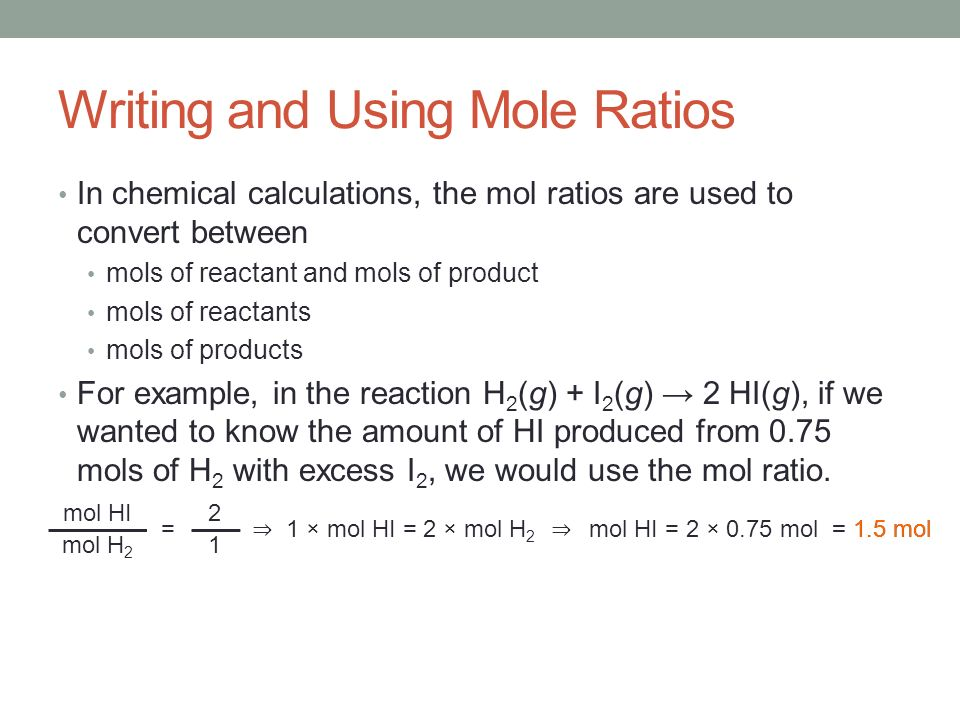 Sample Problem 12.2 How many mols of ammonia are produced when 0.60 mols of nitrogen react with hydrogen.