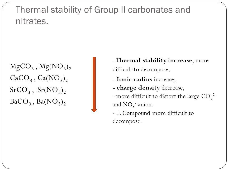 Thermal stability of Group II carbonates and nitrates. MgCO 3, Mg(NO 3 ) 2 CaCO 3, Ca(NO 3 ) 2 SrCO 3, Sr(NO 3 ) 2 BaCO 3, Ba(NO 3 ) 2 - Thermal stabi