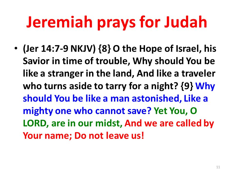 Jeremiah prays for Judah (Jer 14:7-9 NKJV) {8} O the Hope of Israel, his Savior in time of trouble, Why should You be like a stranger in the land, And like a traveler who turns aside to tarry for a night.