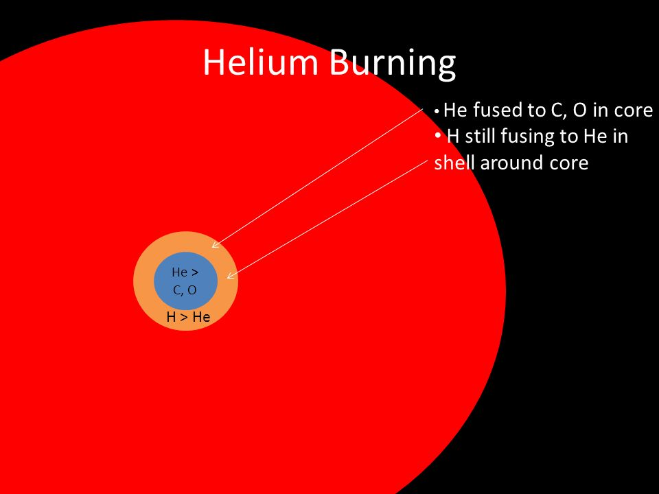 Helium Burning He > C, O H > He He fused to C, O in core H still fusing to He in shell around core