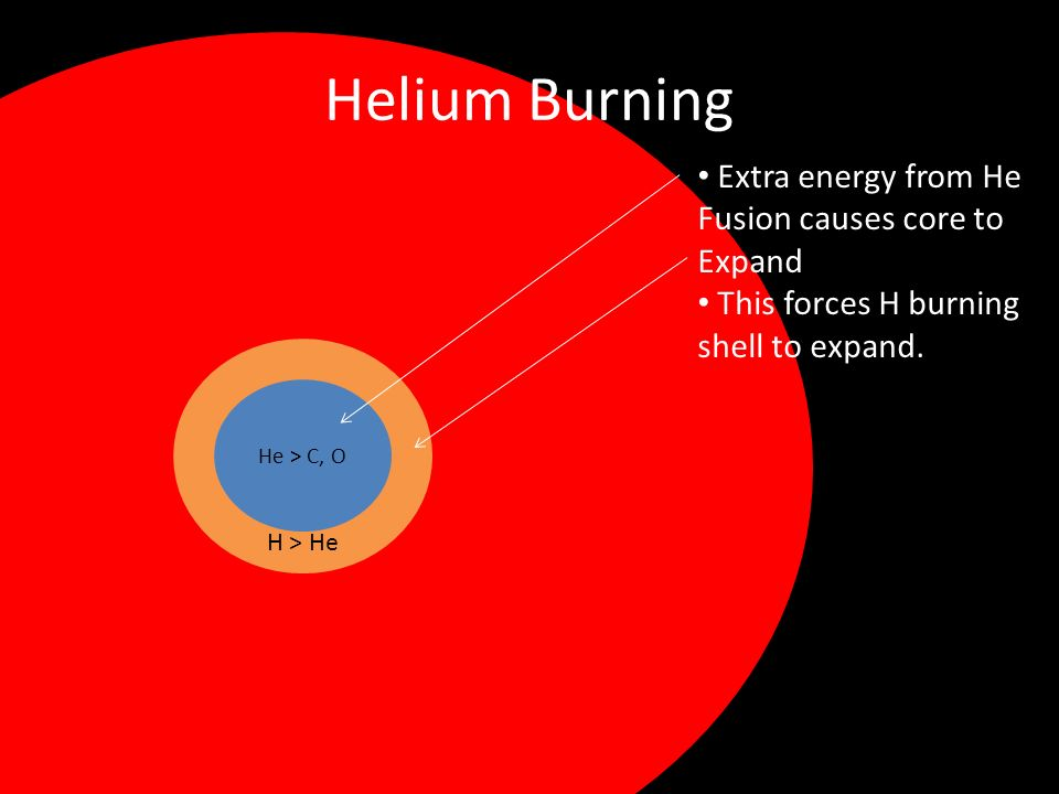 Helium Burning He > C, O H > He Extra energy from He Fusion causes core to Expand This forces H burning shell to expand.