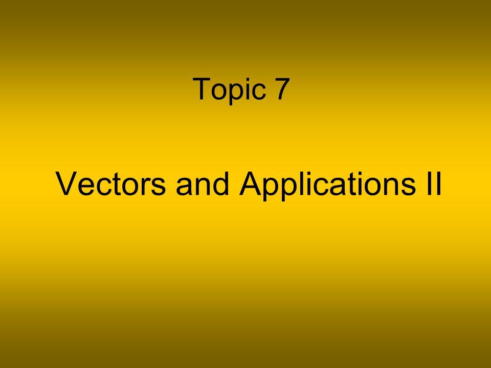 Topic 7 Vectors and Applications II