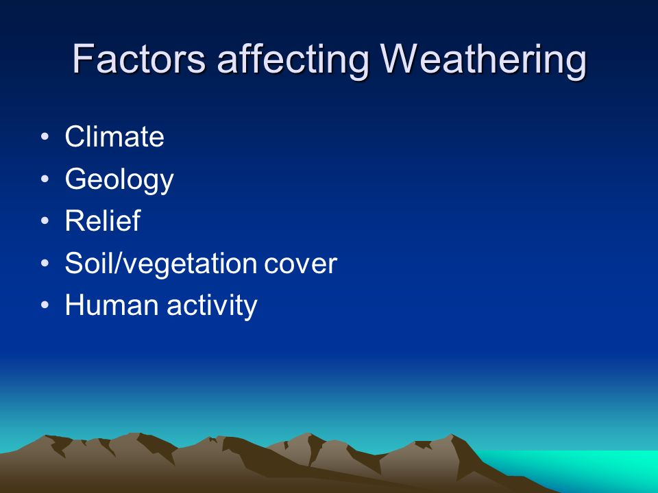 Factors affecting Weathering Climate Geology Relief Soil/vegetation cover Human activity