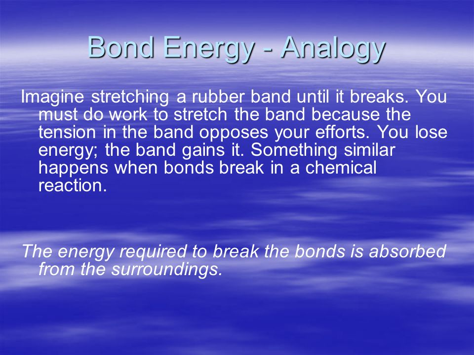 Bond Energy - Analogy Imagine stretching a rubber band until it breaks.