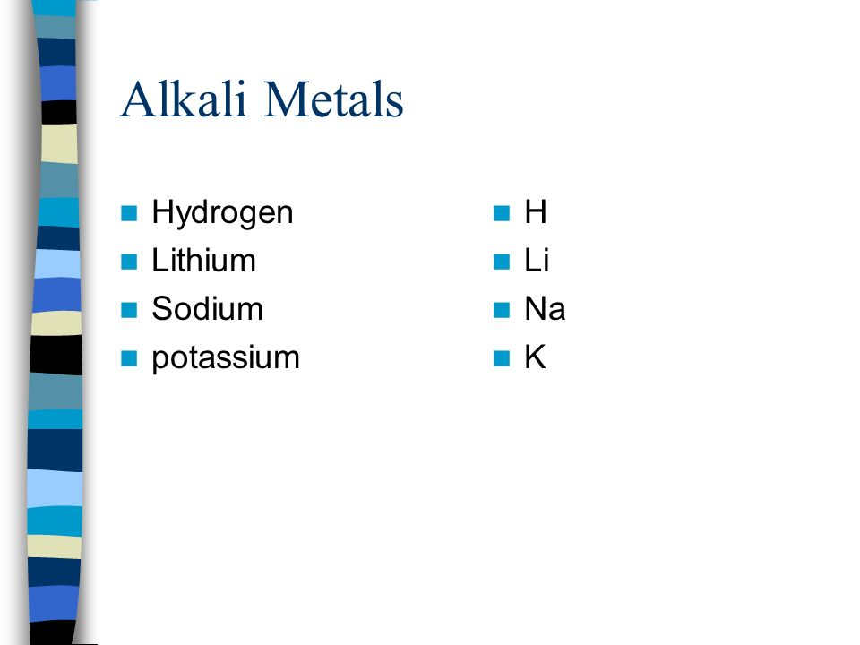Alkali Metals Hydrogen Lithium Sodium potassium H Li Na K