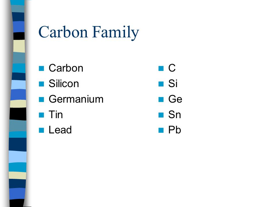 Carbon Family Carbon Silicon Germanium Tin Lead C Si Ge Sn Pb
