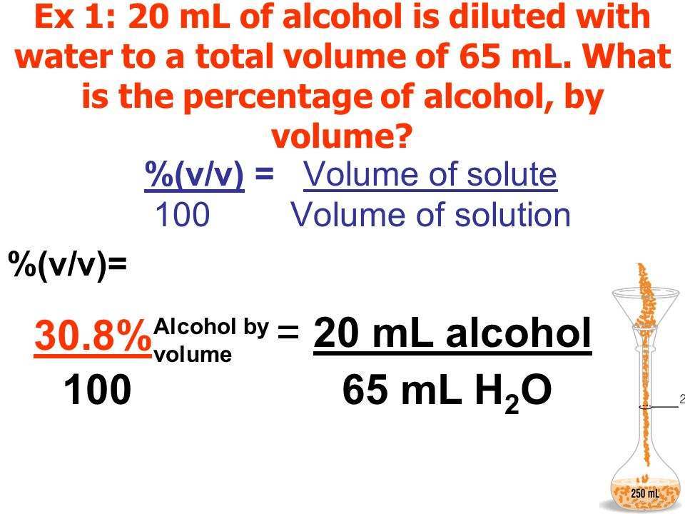 Ex 1: 20 mL of alcohol is diluted with water to a total volume of 65 mL. What is the percentage of alcohol, by volume? %(v/v) = Volume of solute 100 V