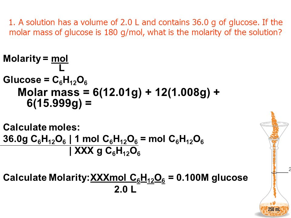 1. A solution has a volume of 2.0 L and contains 36.0 g of glucose. If the molar mass of glucose is 180 g/mol, what is the molarity of the solution? M