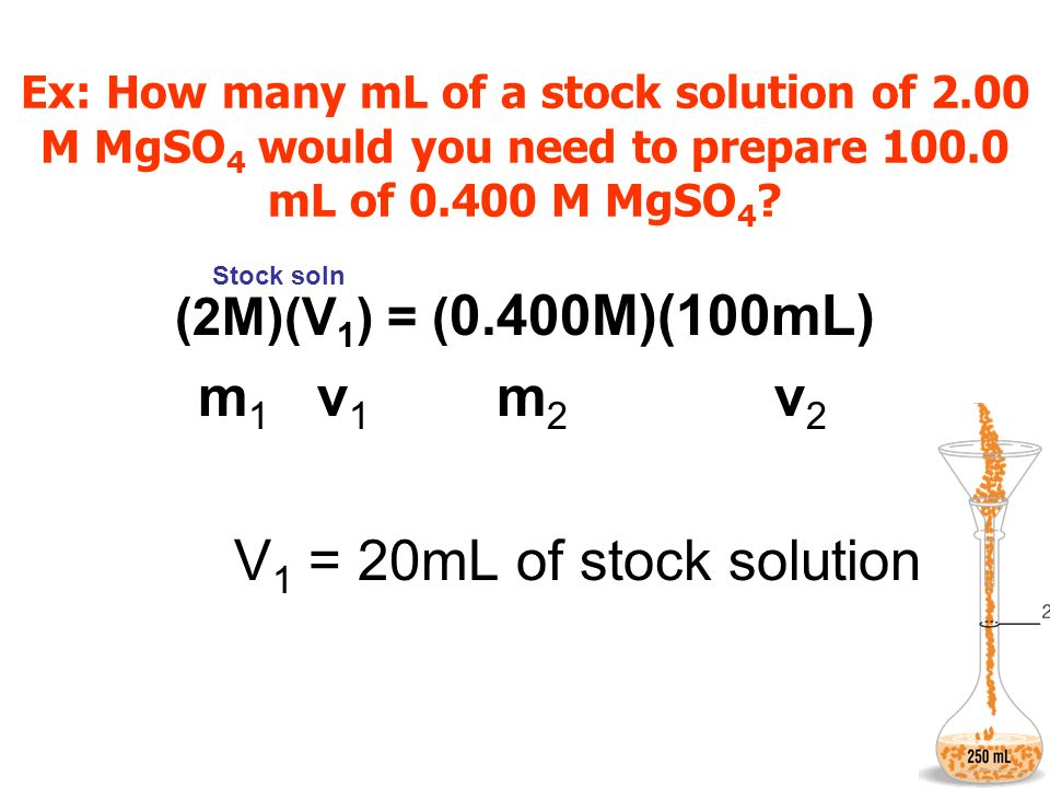 Ex: How many mL of a stock solution of 2.00 M MgSO 4 would you need to prepare 100.0 mL of 0.400 M MgSO 4 ? (2M)(V 1 ) = ( 0.400M)(100mL) m 1 v 1 m 2