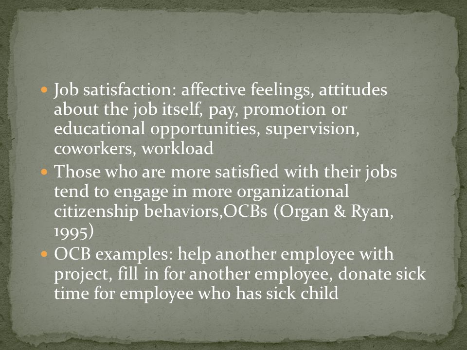 Job satisfaction: affective feelings, attitudes about the job itself, pay, promotion or educational opportunities, supervision, coworkers, workload Th