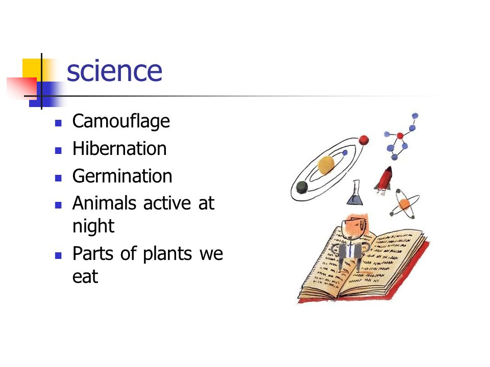 science Camouflage Hibernation Germination Animals active at night Parts of plants we eat