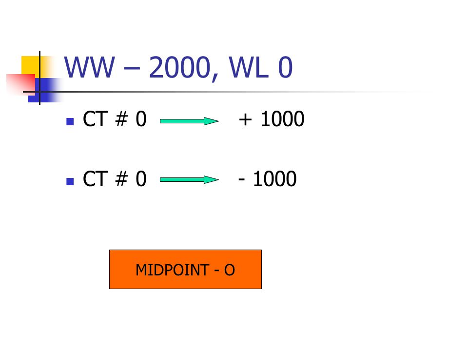 WW – 2000, WL 0 CT # 0 + 1000 CT # 0 - 1000 MIDPOINT - O