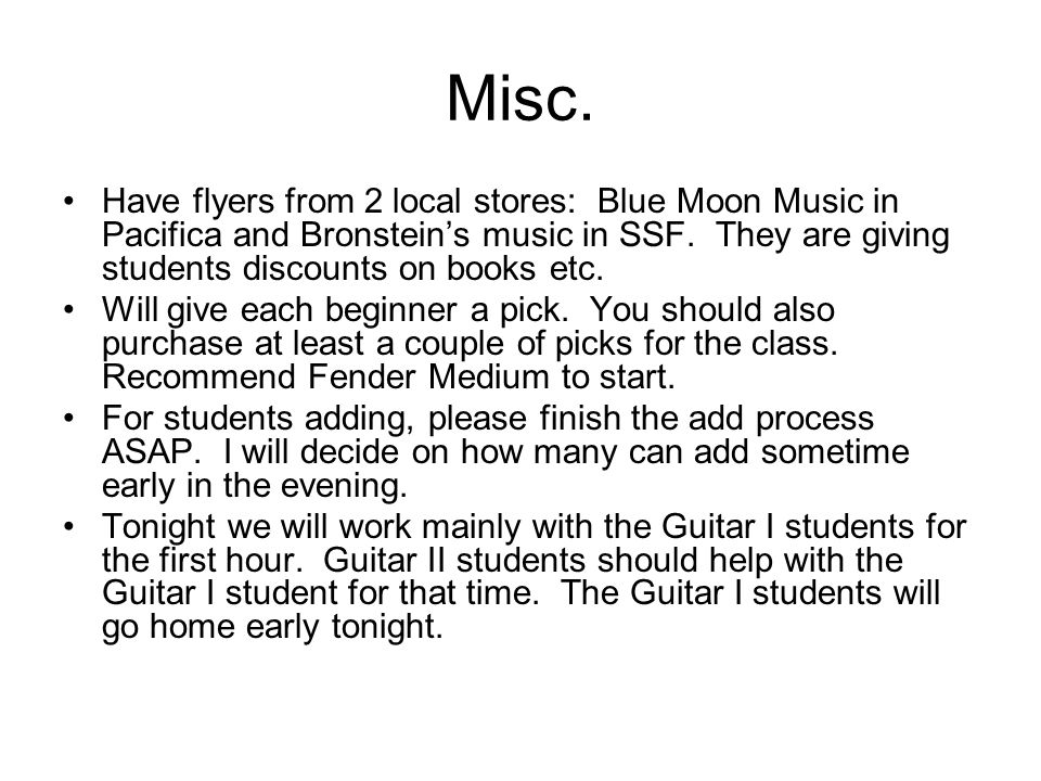 Misc. Have flyers from 2 local stores: Blue Moon Music in Pacifica and Bronsteins music in SSF.
