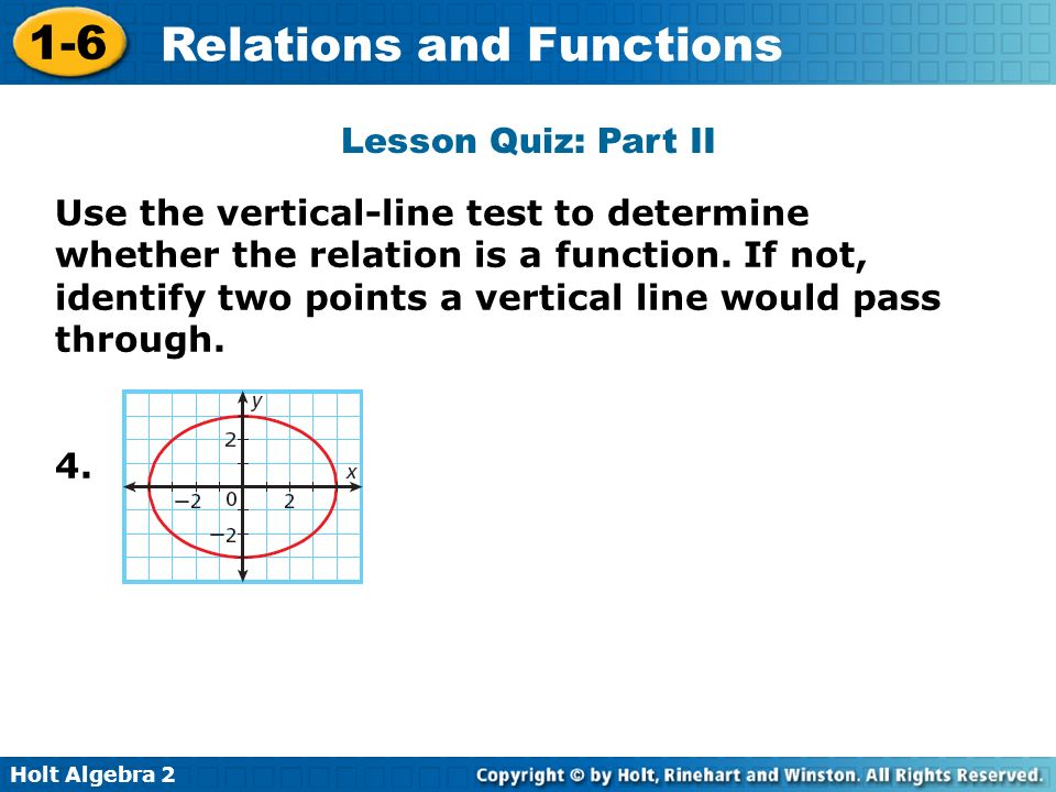 Holt Algebra 2 1-6 Relations and Functions Lesson Quiz: Part II Use the vertical-line test to determine whether the relation is a function. If not, id