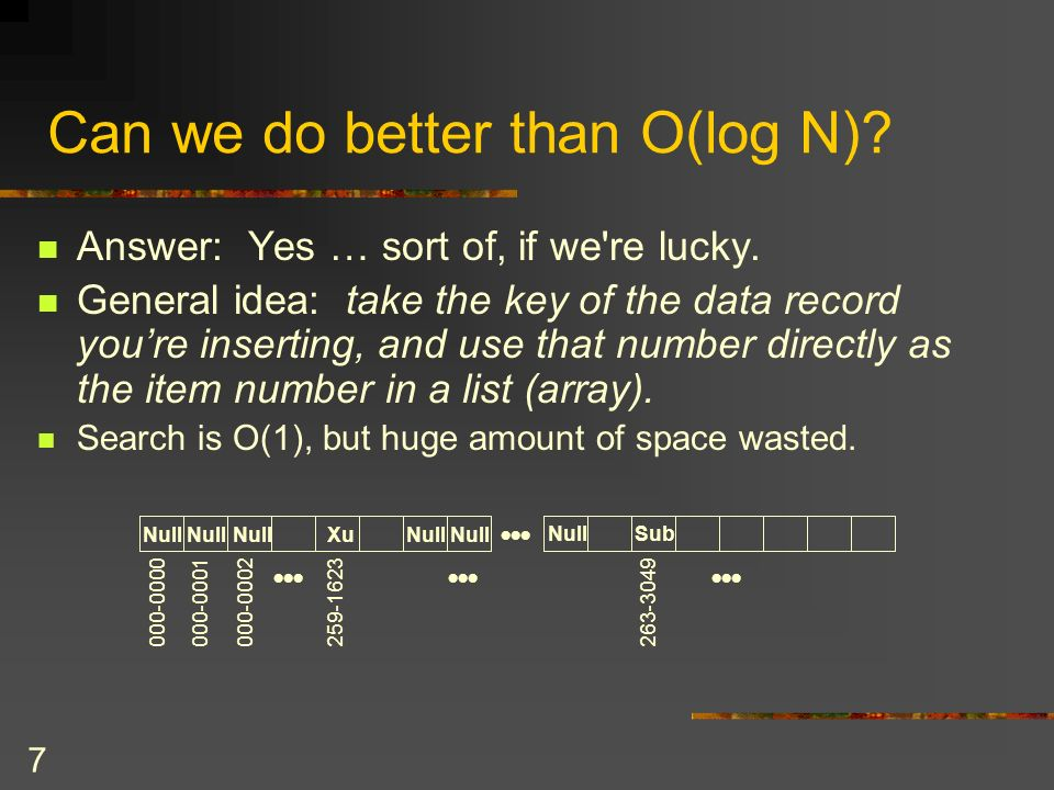 7 Can we do better than O(log N). Answer: Yes … sort of, if we re lucky.