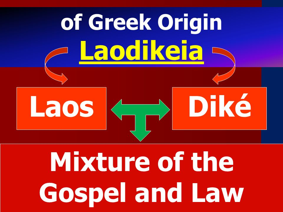 of Greek Origin Laodikeia LaosDiké Mixture of the Gospel and Law