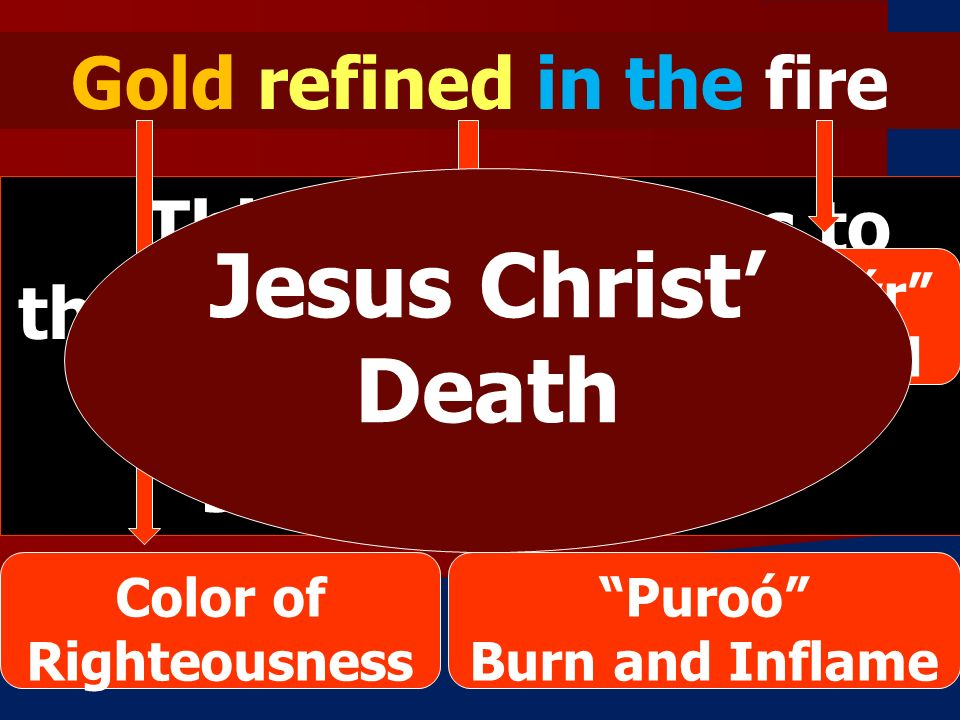 Gold refined in the fire This phrase refers to the faithful and righteous one, none other than JESUS CHRIST.