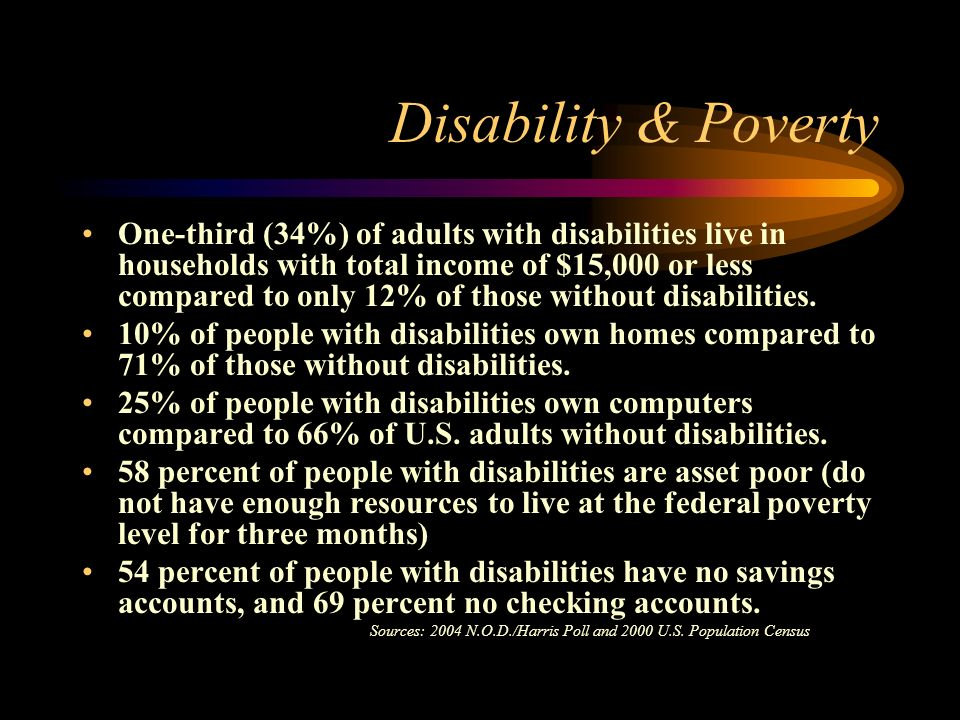 Disability & Poverty One-third (34%) of adults with disabilities live in households with total income of $15,000 or less compared to only 12% of those without disabilities.