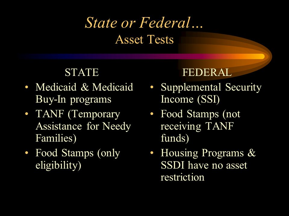 Working with Asset Limitations New IDA rules Pooled Special Needs Trusts Medicaid Buy-In programs PASS, PESS, other Social Security Work Incentives Waivers