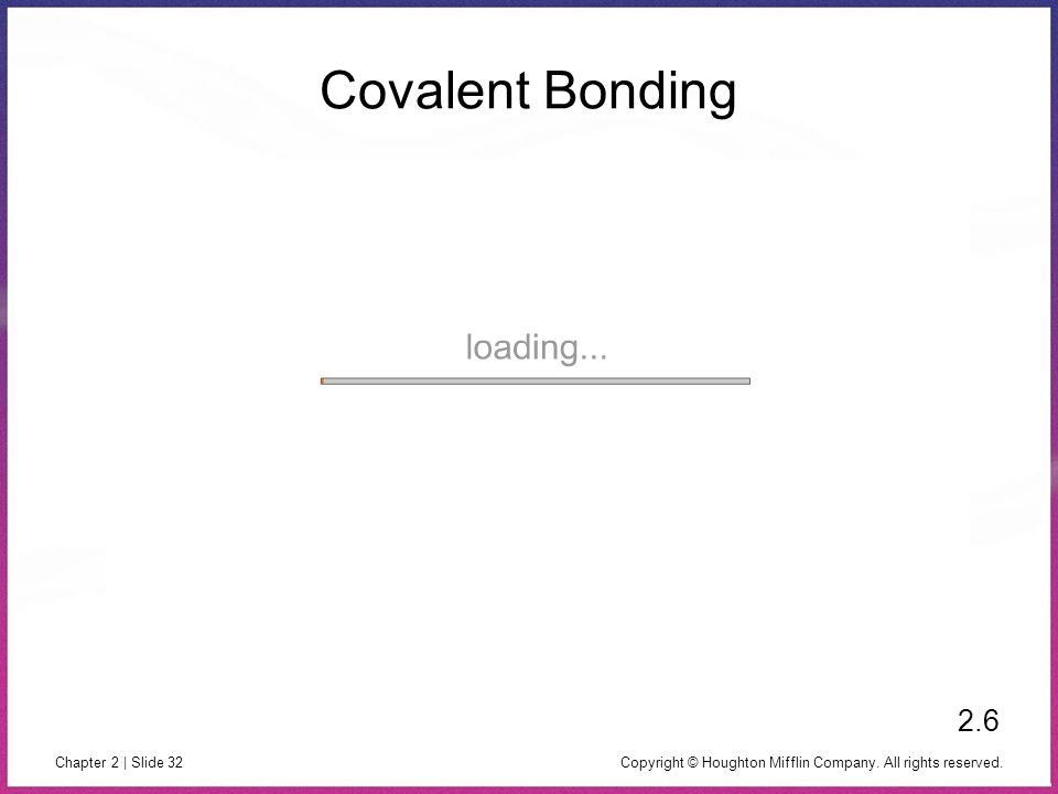 Copyright © Houghton Mifflin Company. All rights reserved. Chapter 2 | Slide 32 Covalent Bonding 2.6