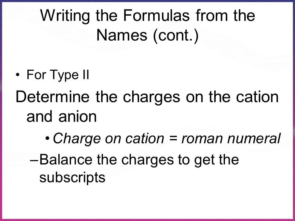 Writing the Formulas from the Names (cont.) For Type II Determine the charges on the cation and anion Charge on cation = roman numeral –Balance the ch