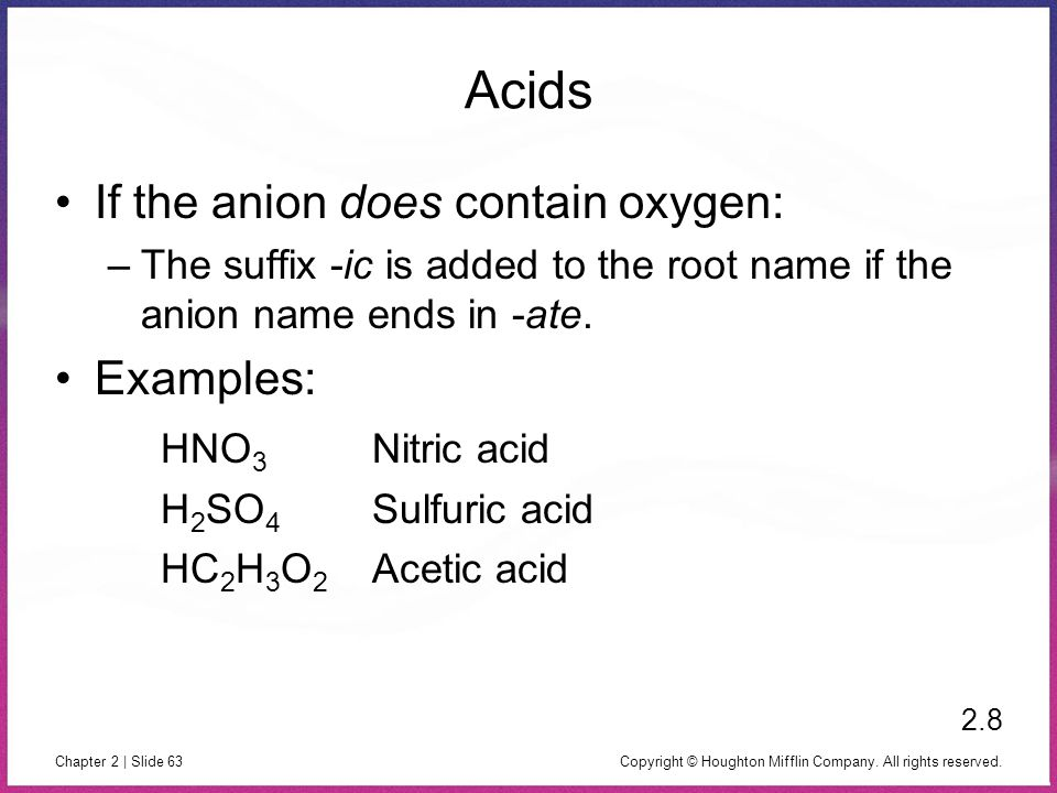 Copyright © Houghton Mifflin Company. All rights reserved. Chapter 2 | Slide 63 Acids If the anion does contain oxygen: –The suffix -ic is added to th