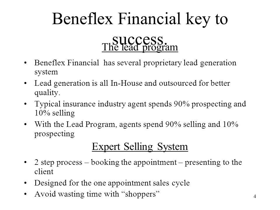4 Beneflex Financial key to success. The lead program Beneflex Financial has several proprietary lead generation system Lead generation is all In-Hous