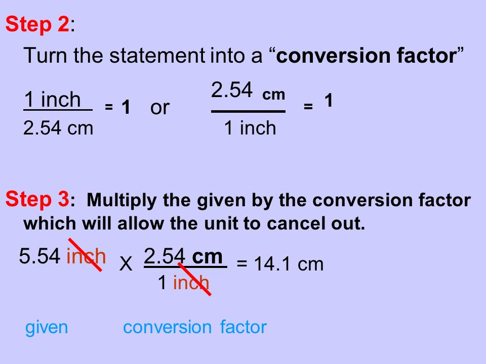 Step 2:2: Turn the statement into a conversion factor 1 inch = 1 or 2.54 cm = 1 2.54 cm 1 inch Step 3 : Multiply the given by the conversion factor wh