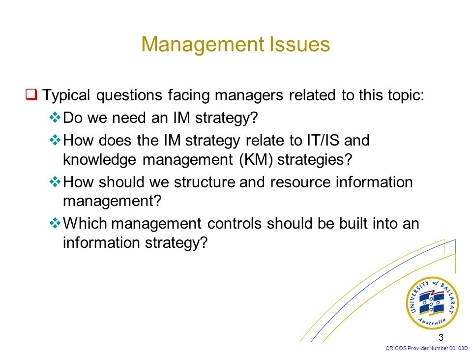 CRICOS Provider Number 00103D 3 Typical questions facing managers related to this topic: Do we need an IM strategy? How does the IM strategy relate to