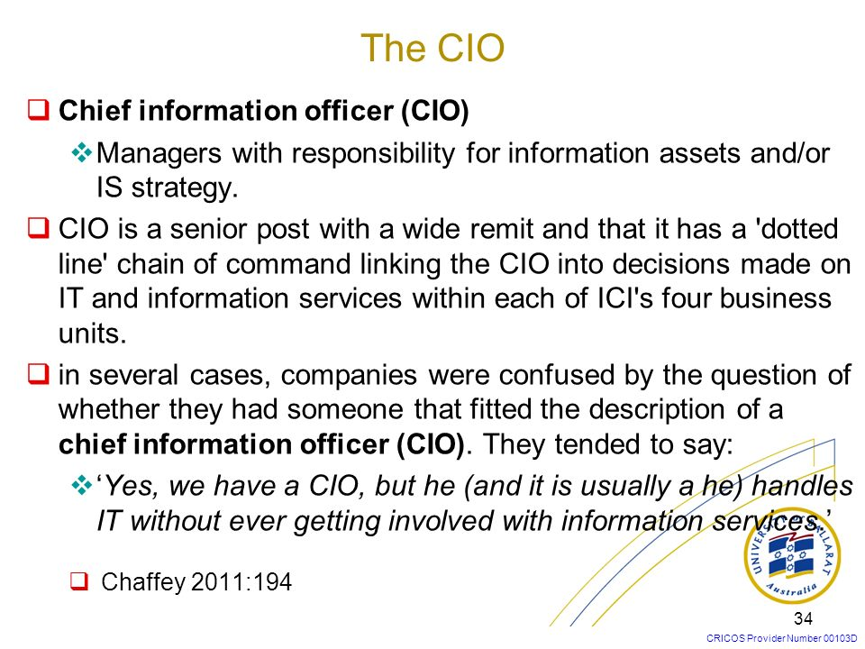 CRICOS Provider Number 00103D 34 Chief information officer (CIO) Managers with responsibility for information assets and/or IS strategy. CIO is a seni