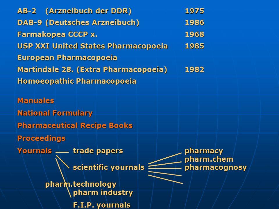 AB-2(Arzneibuch der DDR)1975 DAB-9(Deutsches Arzneibuch)1986 Farmakopea CCCP x.1968 USP XXI United States Pharmacopoeia1985 European Pharmacopoeia Mar
