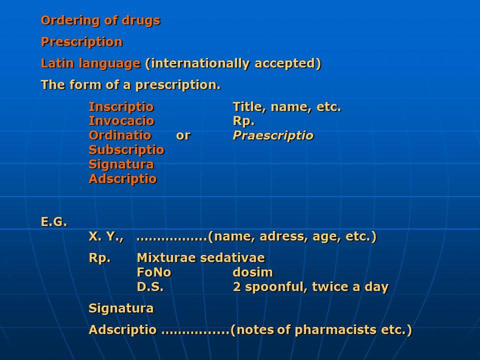 Ordering of drugs Prescription Latin language (internationally accepted) The form of a prescription. InscriptioTitle, name, etc. InvocacioRp. Ordinati