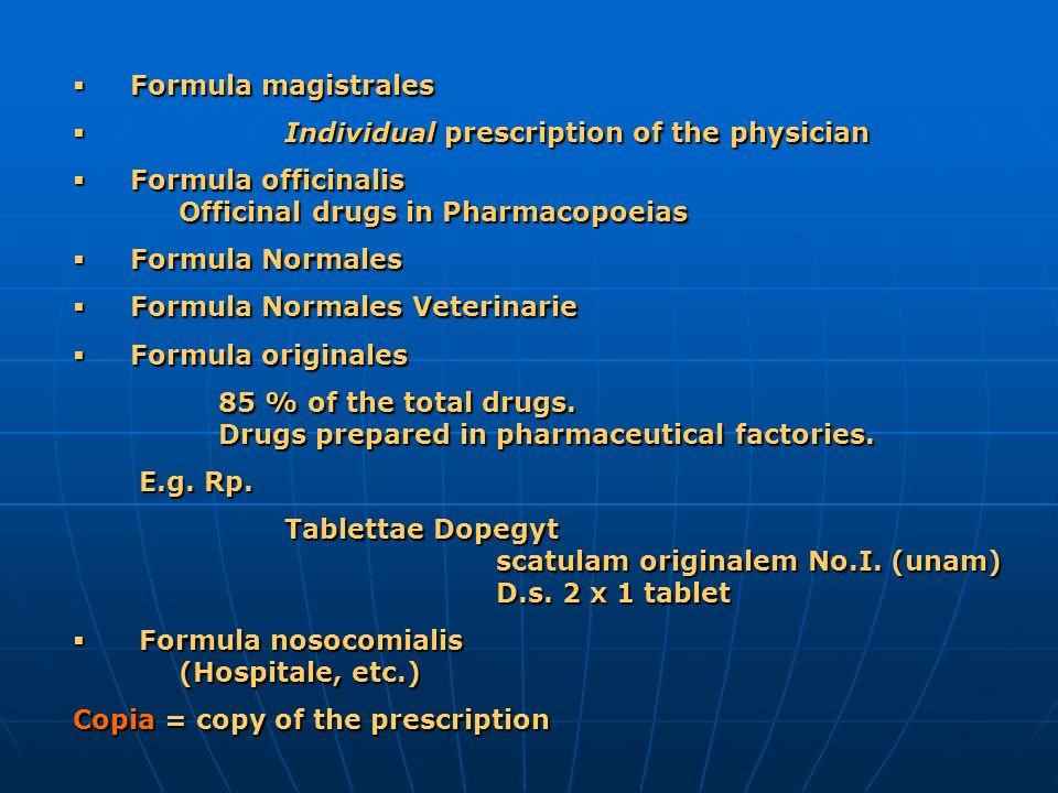 Formula magistrales Formula magistrales Individual prescription of the physician Individual prescription of the physician Formula officinalis Officina