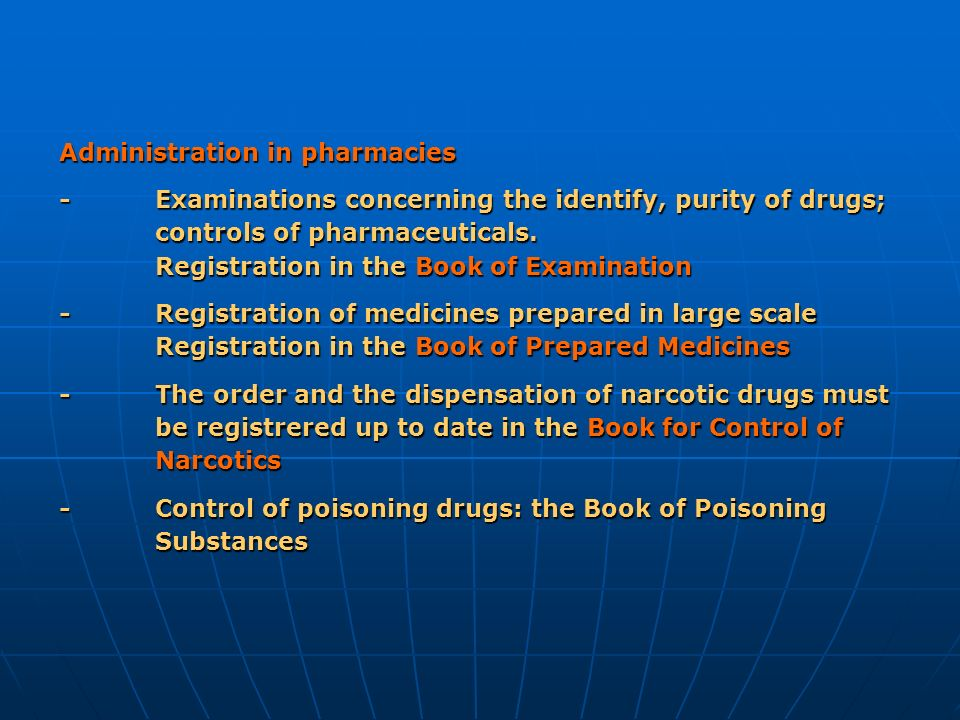 Administration in pharmacies - Examinations concerning the identify, purity of drugs; controls of pharmaceuticals. Registration in the Book of Examina